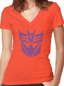Transformers Decepticon Logo Women's Fitted V-Neck T-Shirt