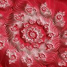 Red White Fine Fractal Art by Vicky Brago-Mitchell
