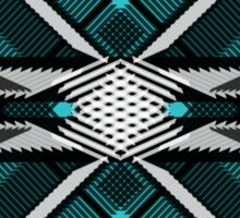Plaid in Black and White on Turquoise Sticker