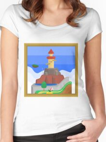 Whomp's Fortress, A Super Mario 64 Painting Women's Fitted Scoop T-Shirt
