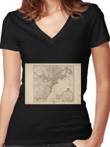 American Revolutionary War Era Maps 1750-1786 949 The United States of America with the British possessions of Canada Nova Scotia New Brunswick and Women's Fitted V-Neck T-Shirt