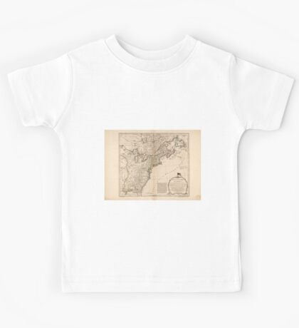American Revolutionary War Era Maps 1750-1786 949 The United States of America with the British possessions of Canada Nova Scotia New Brunswick and Kids Tee