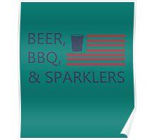 Beer,bbq&sparklers Poster
