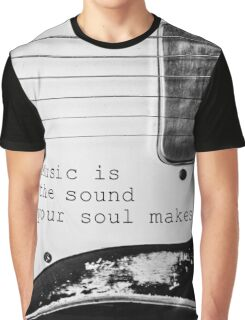 Soulful Black and White Guitar Graphic T-Shirt