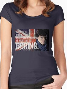 Sherlock Union Jack Quote Women's Fitted Scoop T-Shirt