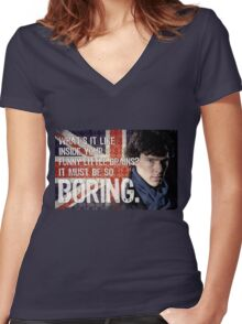 Sherlock Union Jack Quote Women's Fitted V-Neck T-Shirt