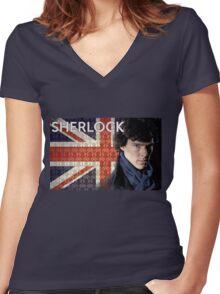Sherlock Union Jack Women's Fitted V-Neck T-Shirt