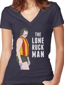 The Lone Ruckman - red/gold Women's Fitted V-Neck T-Shirt