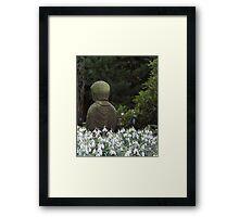 Backyard Buddha in field of Snow Drops Framed Print