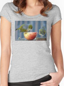 Holding the Apple Up! - Wax Eye NZ - Southland Women's Fitted Scoop T-Shirt