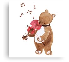 Bear Playing violin Canvas Print