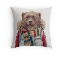 Winter Wolverine Throw Pillow