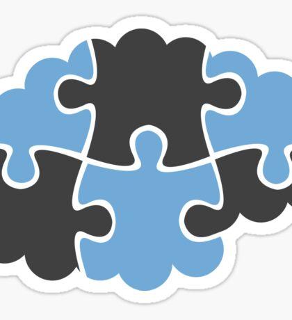 Jigsaw puzzle brain sticker - blue and dark gray Sticker