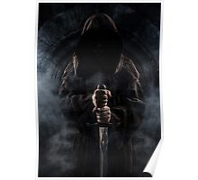 Hooded man with big sword Poster
