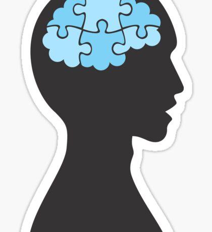 Profile with jigsaw puzzle brain sticker Sticker