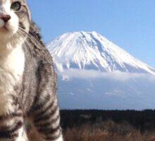Cat and Mount Fuji Sticker