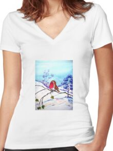 Winter Snow  Women's Fitted V-Neck T-Shirt