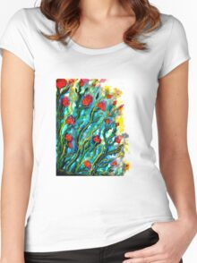 Rambling Roses Flowers Women's Fitted Scoop T-Shirt