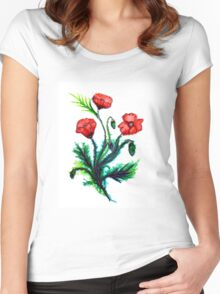 Poppies - Flowers Women's Fitted Scoop T-Shirt
