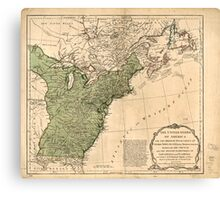American Revolutionary War Era Maps 1750-1786 948 The United States of America with the British possessions of Canada Nova Scotia & of Newfoundland divided Canvas Print