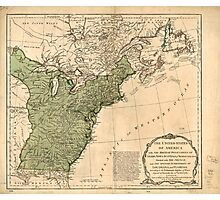 American Revolutionary War Era Maps 1750-1786 948 The United States of America with the British possessions of Canada Nova Scotia & of Newfoundland divided Photographic Print