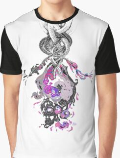 Psychedelic Ink Octopus Black Watercolor Graphic T-Shirt
