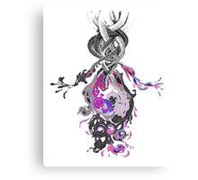 Psychedelic Ink Octopus Black Watercolor Canvas Print