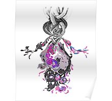 Psychedelic Ink Octopus Black Watercolor Poster