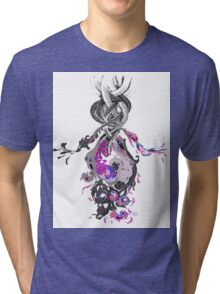 Psychedelic Ink Octopus Black Watercolor Tri-blend T-Shirt
