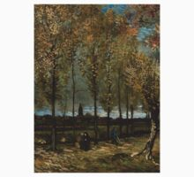 1885-Vincent van Gogh-Lane with Poplars-78x97 One Piece - Long Sleeve