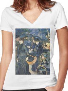 Renoir Auguste - The Umbrellas. Auguste Renoir Umbrellas Women's Fitted V-Neck T-Shirt