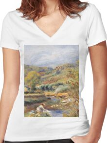 Renoir Auguste - The Washerwoman Women's Fitted V-Neck T-Shirt