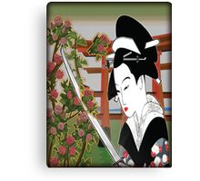 Geisha pruning roses Canvas Print