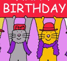 Red Hat cats Sticker