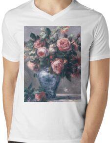 Renoir Auguste - Vase Of Roses Mens V-Neck T-Shirt