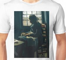 1885-Vincent van Gogh-Woman sewing-34x43 Unisex T-Shirt