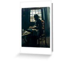 1885-Vincent van Gogh-Woman sewing-34x43 Greeting Card