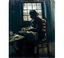1885-Vincent van Gogh-Woman sewing-34x43 Photographic Print