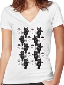 MARCHING CATS Women's Fitted V-Neck T-Shirt
