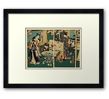 Kunichika Toyohara - Flower Performance - 1862 - Woodcut Framed Print