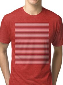 White & Red Knitted Tri-blend T-Shirt
