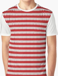 White & Red Knitted Graphic T-Shirt