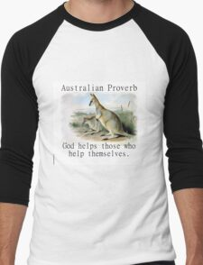God Helps Those - Australian Proverb Men's Baseball ¾ T-Shirt