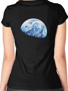 EARTH, PLANET, SPACE, Blue planet, Earthrise, Apollo 8, 1968 Women's Fitted Scoop T-Shirt