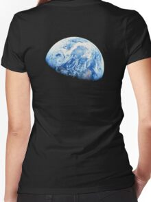 EARTH, PLANET, SPACE, Blue planet, Earthrise, Apollo 8, 1968 Women's Fitted V-Neck T-Shirt