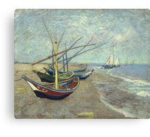Vincent Van Gogh - Fishing Boats On The Beach At Les Saintes-Maries-De-La-Mer . Van Gogh - Seascape Canvas Print