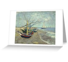 Vincent Van Gogh - Fishing Boats On The Beach At Les Saintes-Maries-De-La-Mer . Van Gogh - Seascape Greeting Card