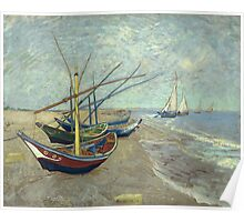 Vincent Van Gogh - Fishing Boats On The Beach At Les Saintes-Maries-De-La-Mer . Van Gogh - Seascape Poster