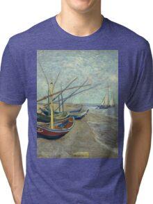Vincent Van Gogh - Fishing Boats On The Beach At Les Saintes-Maries-De-La-Mer . Van Gogh - Seascape Tri-blend T-Shirt