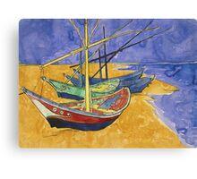 Vincent Van Gogh - Fishing Boats On The Beach Canvas Print